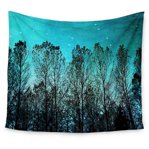 "Blue Trees  Sylvia Cook Dark Forest Wall Tapestry (51""x60"") - Kess InHouse - image 1 of 1"