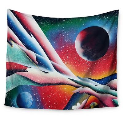 Red Blue Infinite Spray Art String Theory Wall Tapestry (51 x60 )- Kess InHouse