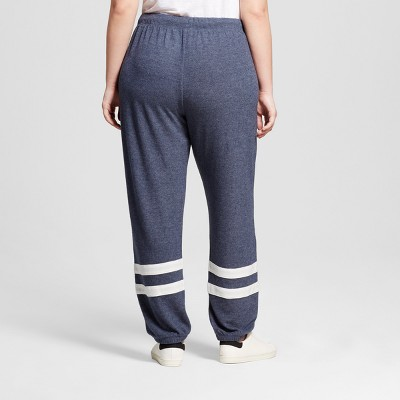 Women's Plus Size Ankle Stripe Soft Brushed Leisure Jogger Navy Blue 3X - Well Worn (Juniors')