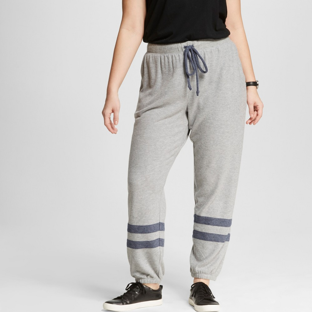 Womens Plus Size Ankle Stripe Soft Brushed Leisure Jogger - Well Worn Heather Gray 1X