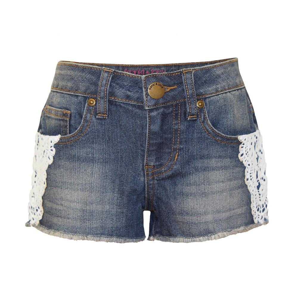 Girls' Franki & Jack Crochet Trim Denim Shorts – Med Wash M (7-8), Girl's, Blue