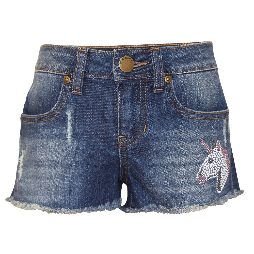 Girls Franki & Jack Crystal Trim Denim Shorts - Med Wash XS (4-5), Blue