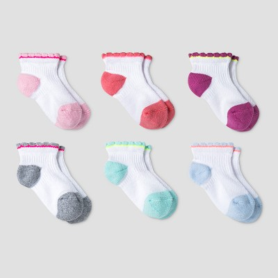 Baby Girls' Athletic Scalloped Quarter 6pk Socks - Cat & Jack™ Multicolor 6-12M
