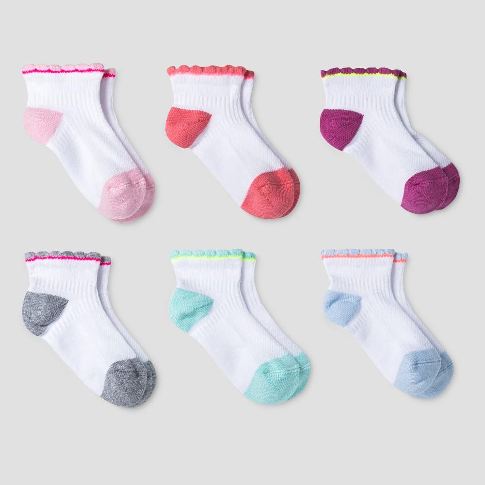 Toddler Girls Athletic Scalloped Quarter 6pk Socks Cat & Jack - Multicolor 4T/5T, Multicolored