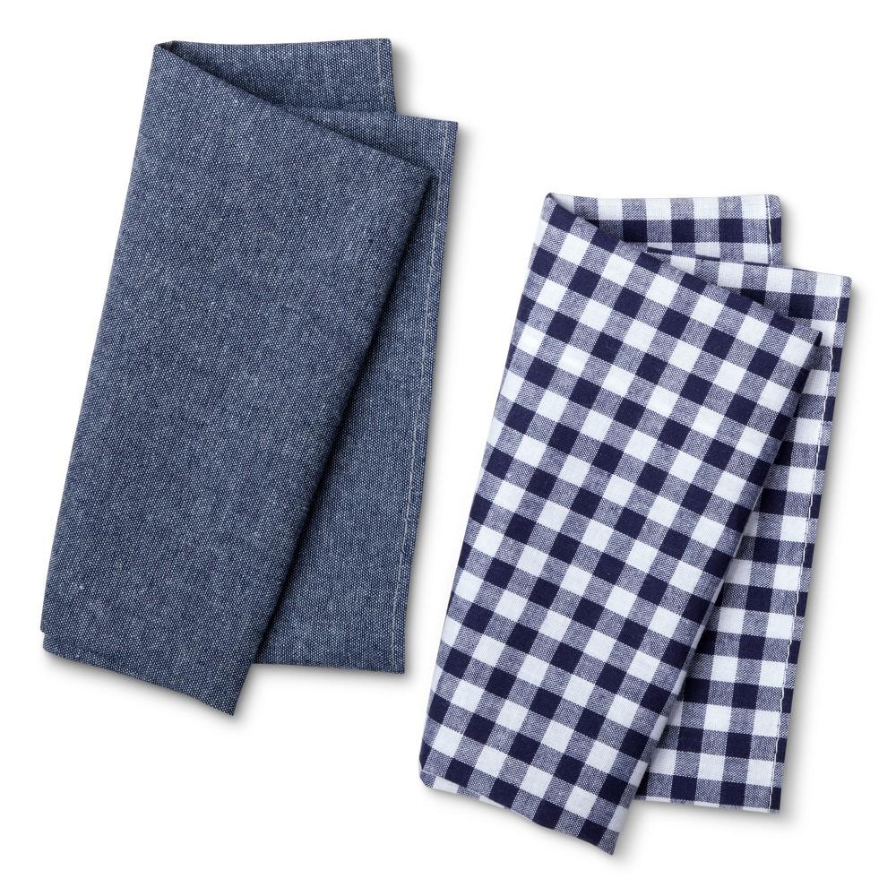 Mens Gingham Pocket Square Set - Merona Navy/Blue, Classic Navy