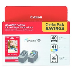 Canon® 0615B009 (PG-40/CL-41) ChromaLife100+ Ink & Paper Combo Pack, Black/Tri-Color (0615B009)