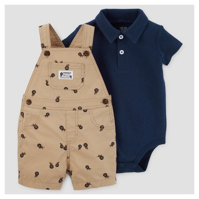 Baby Boys' Lions Shortall Set - Just One You™ Made by Carter's® Brown/Navy NB