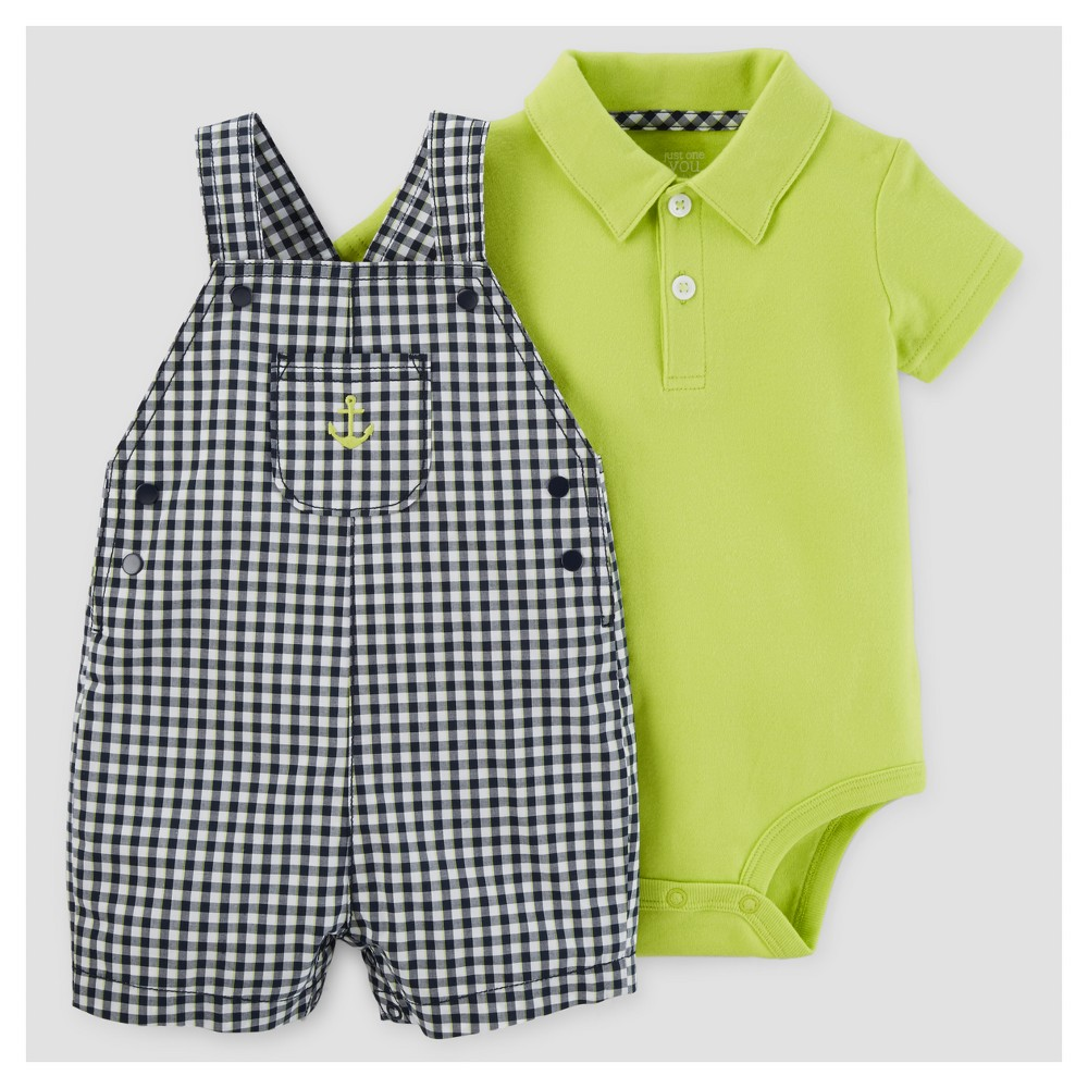 Baby Boys Gingham Anchor Shortall Set - Just One You Made by Carters Navy/Lime 18M, Size: 18 M, Black