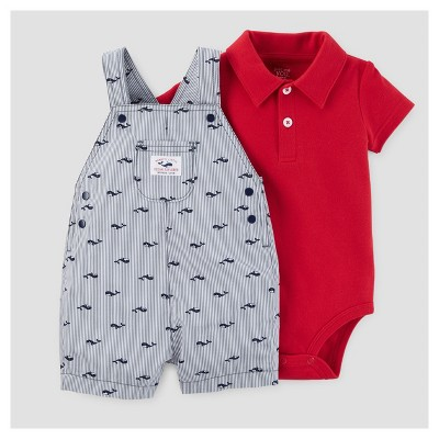 Baby Boys' Whales Shortall Set - Just One You™ Made by Carter's® Blue/Red NB