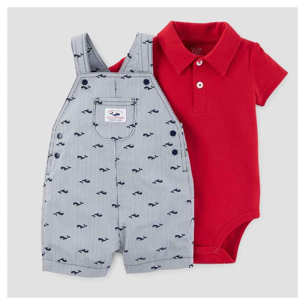 Baby Boys Whales Shortall Set - Just One You Made by Carters Blue/Red 3M, Size: 3 M