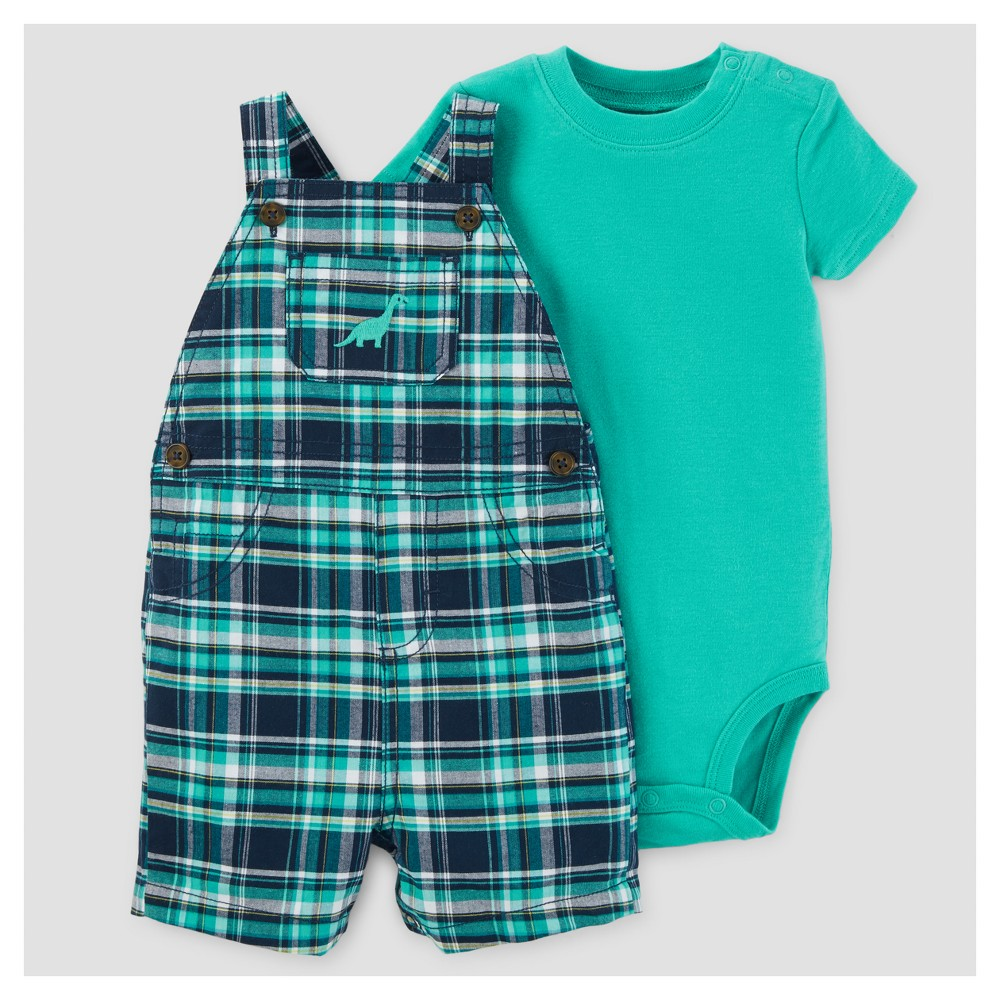 Baby Boys Plaid Dino Shortall Set - Just One You Made by Carters Teal 3M, Size: 3 M, Blue