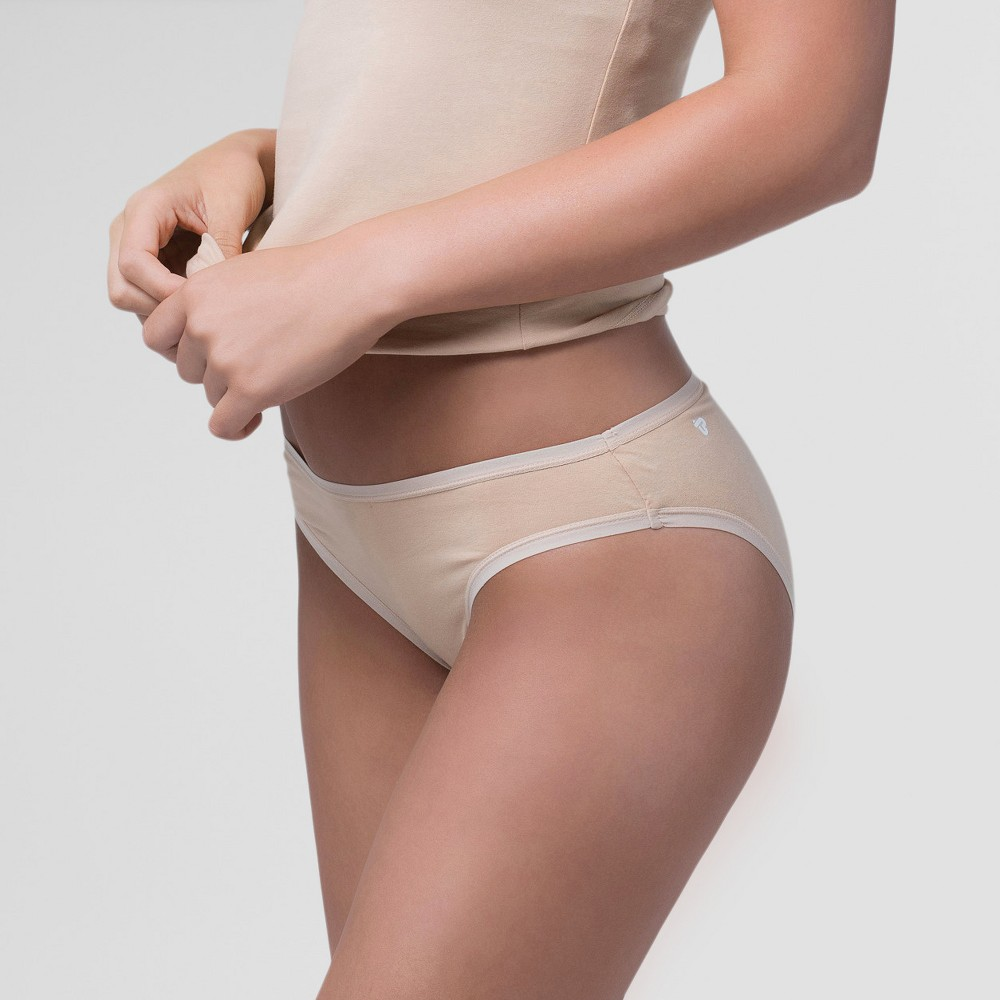 Pact Organic Super Soft Cotton Womens Classic 2pk Bikini Briefs - Almond (Brown) L