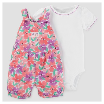 Baby Girls' Watercolor Flowers Shortall Set - Just One You™ Made by Carter's® Pink/Purple 9M