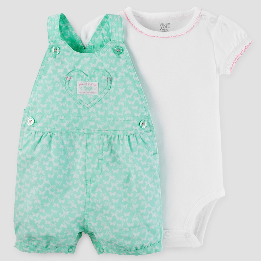 Baby Girls Butterflies Shortall Set - Just One You Made by Carters Aqua 24M, Size: 24 M, Green