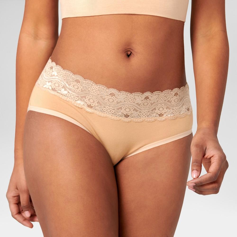 Pact Organic Super Soft Cotton Womens Lace Waist Hipster 2pk - Black M