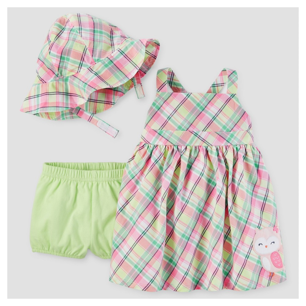 Baby Girls Plaid Owl Dress with Hat Set - Just One You Made by Carters Lime/Pink NB, Green