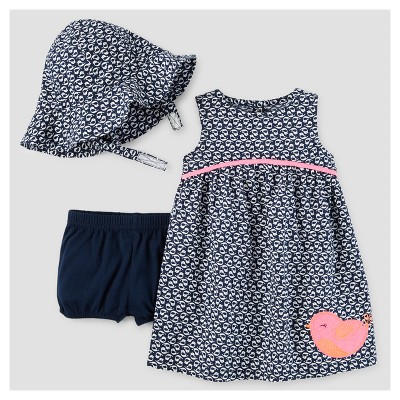 Baby Girls' Birds Dress with Hat Set - Just One You™ Made by Carter's® Navy/Pink 3M