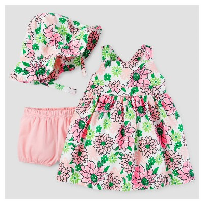 Baby Girls' Floral Dress with Hat Set - Just One You™ Made by Carter's® Pink/Green 12M