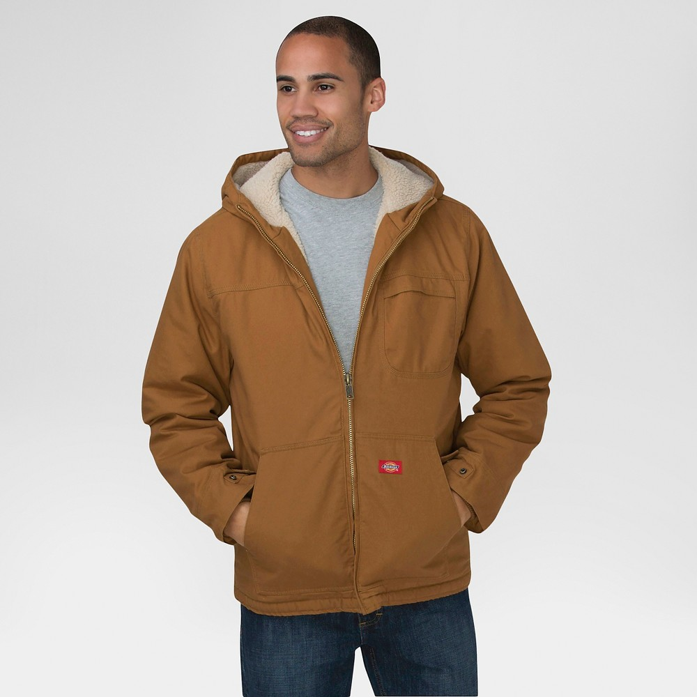 Dickies Mens Duck Sherpa Lined Hooded Jacket Big & Tall Brown Duck 5XL