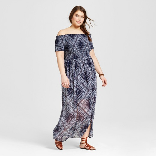 Women\'s Plus Size Off the Shoulder Maxi Dress Blue Print ...
