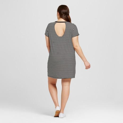 Women\'s Plus Size T-Shirt Dress with Patch Black/White Stripe ...