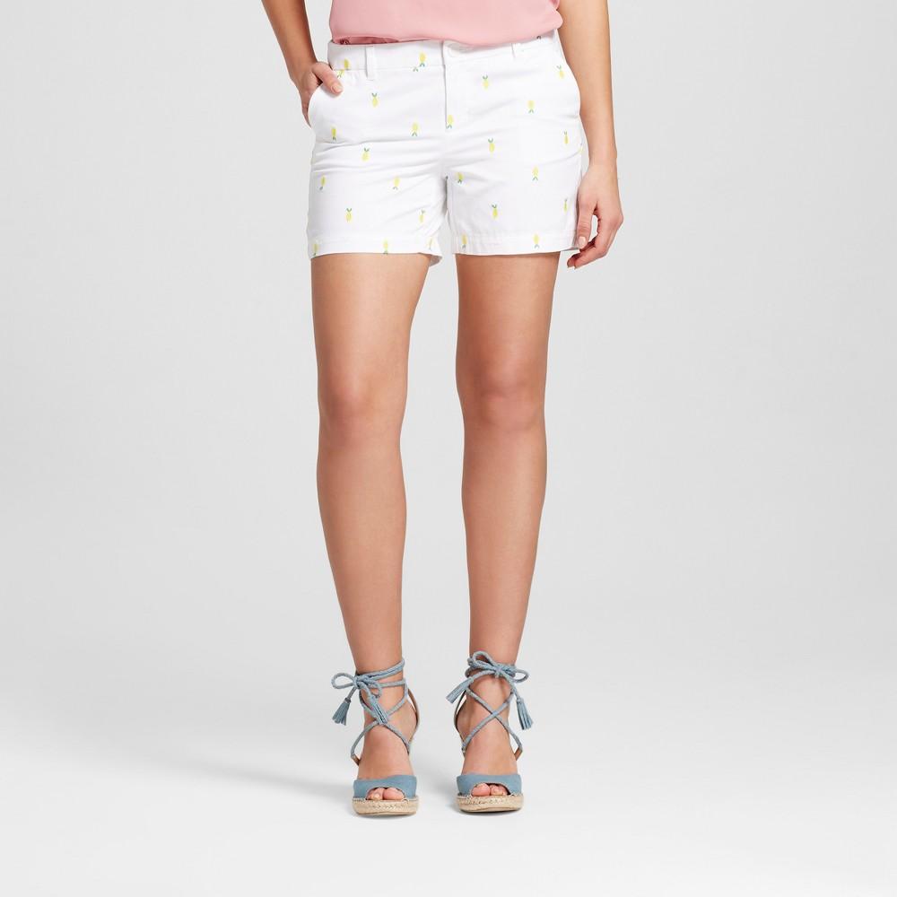 Women's 5 Embroidered Chino Shorts - Merona White 10