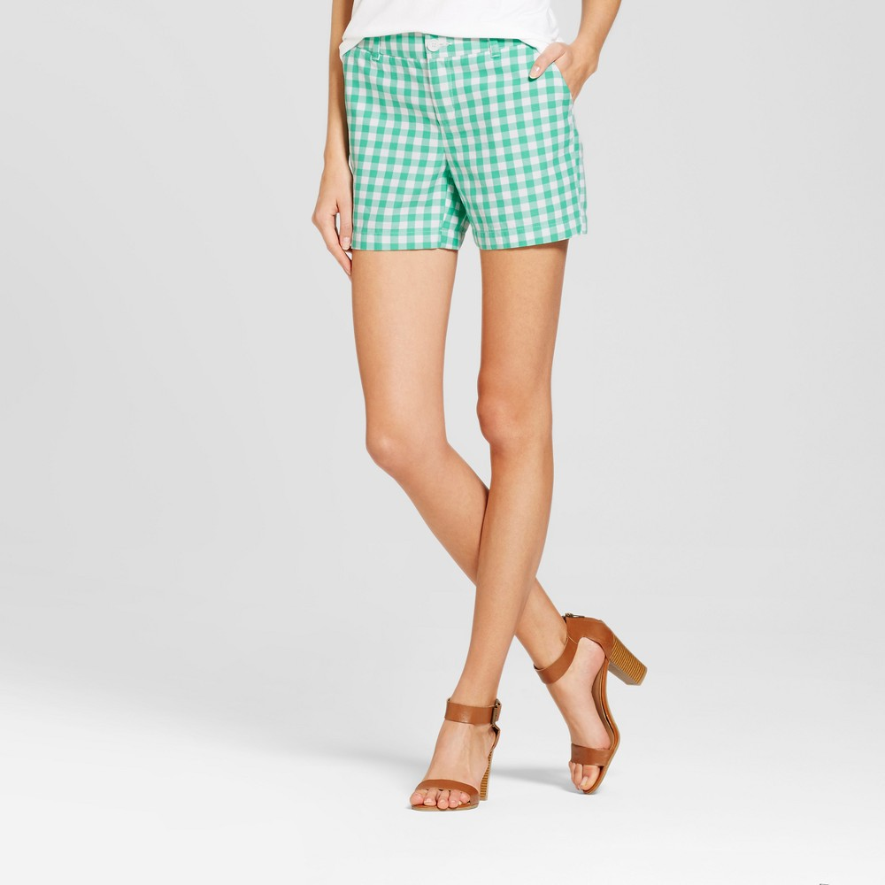 Womens 5 Gingham Chino Shorts - Merona Tumble Green 8