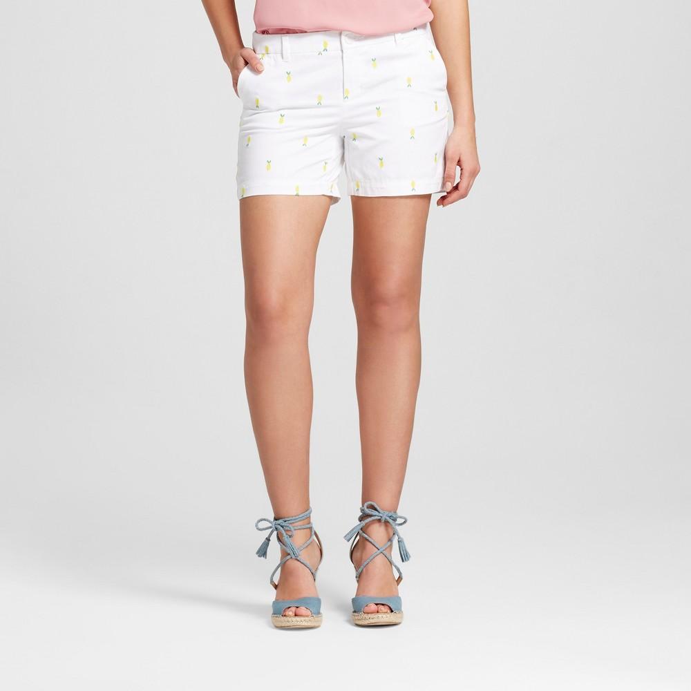 Womens 5 Embroidered Chino Shorts - Merona White 4
