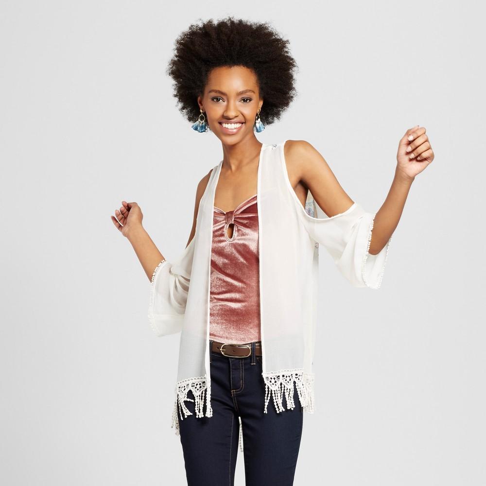 Womens Cold Shoulder Kimono Jacket - Xhilaration (Juniors) Cream M, Beige