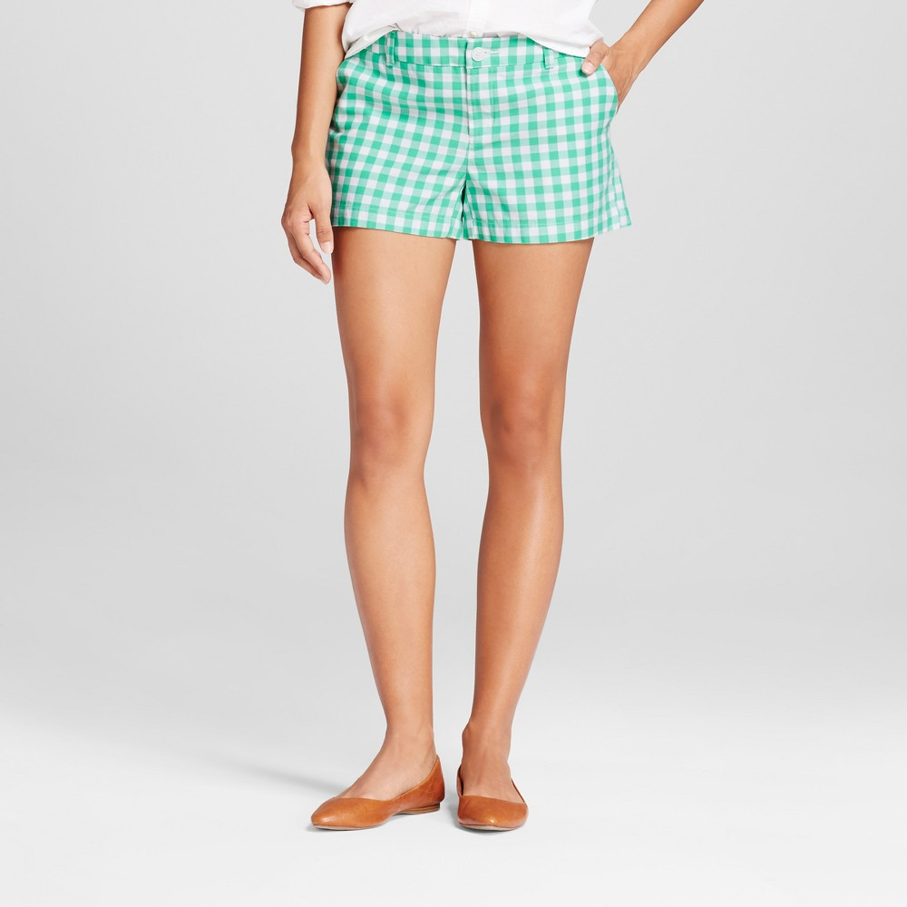 Womens 3 Gingham Chino Shorts - Merona Tumble Green 18