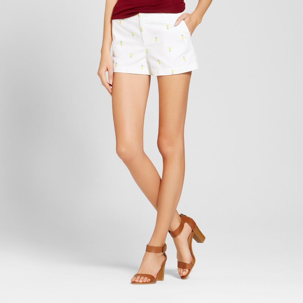 Womens 3 Embroidered Chino Shorts - Merona White 12
