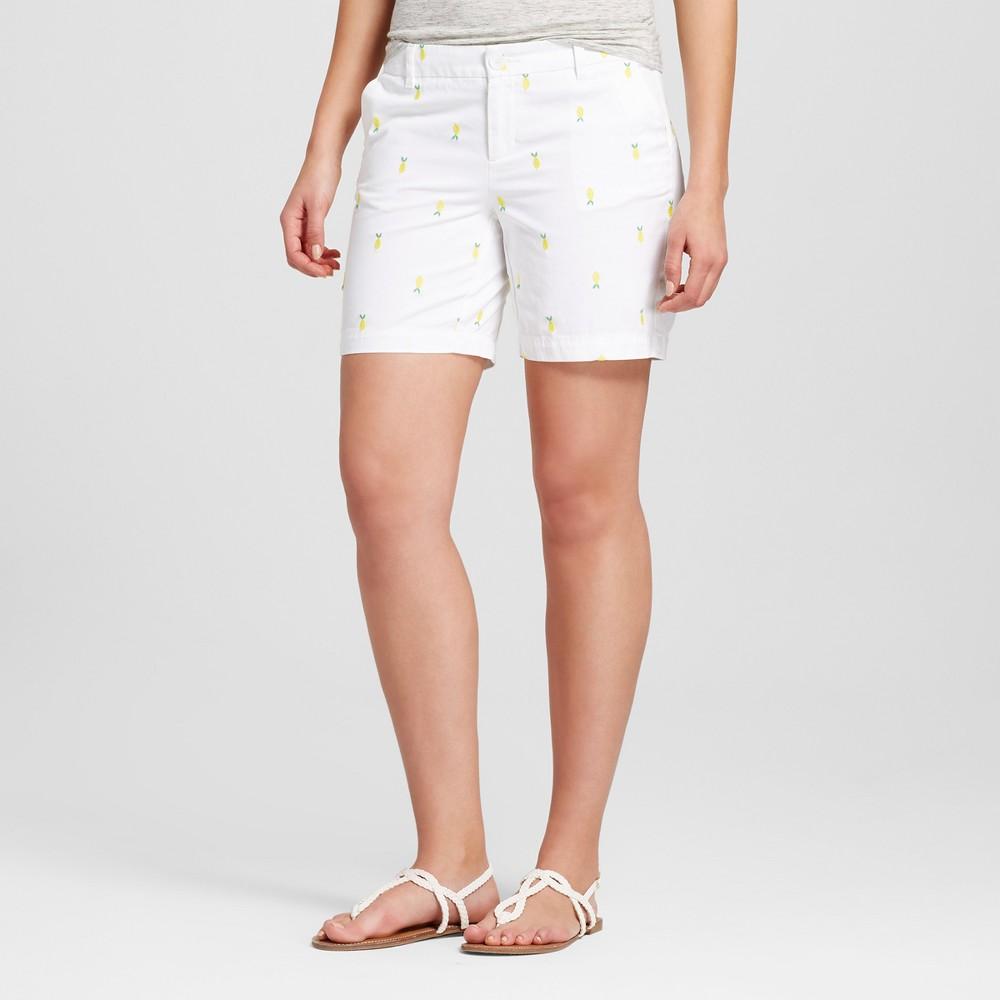 Womens 7 Embroidered Chino Shorts - Merona White 18