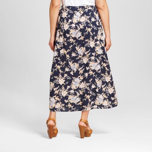 Women's Plus Size Floral Print Pleated Maxi Skirt Blue - Harper ...