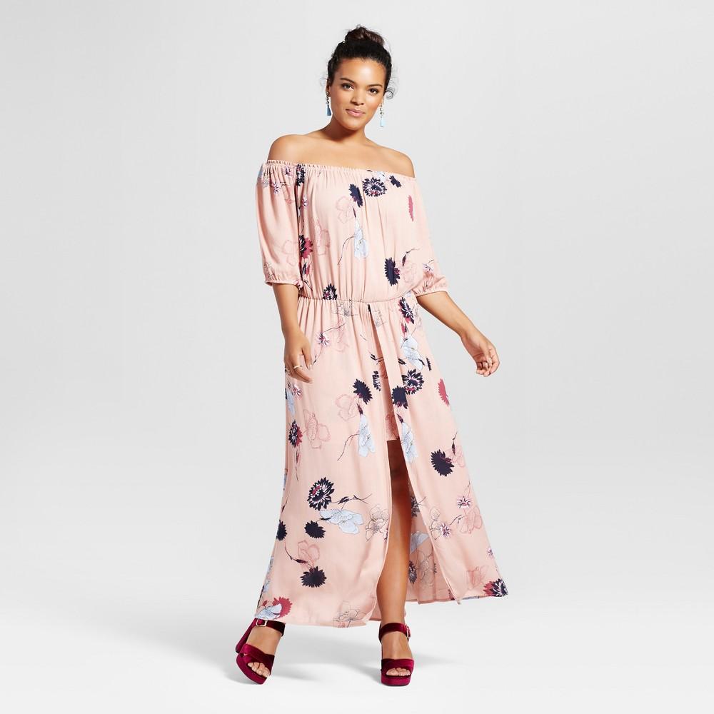 Plus Size Womens Plus Floral Off the Shoulder Romper Pink 3X - Harper & Zoe