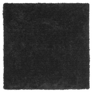 Black Solid Tufted Square Area Rug - (7