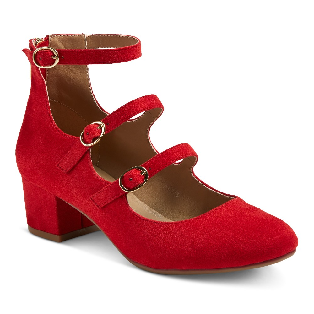 Womens Z-London Triple Buckle Block Heel Pumps - Red 8