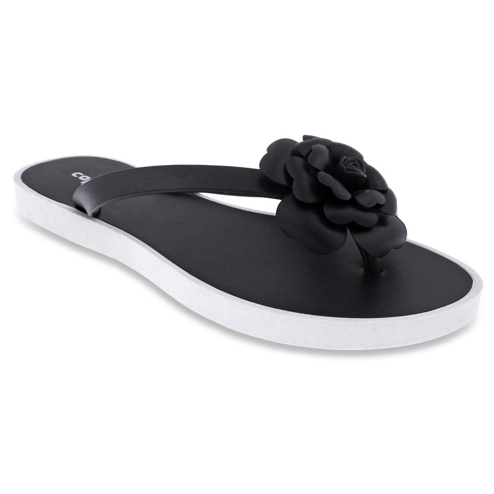 Womens Capelli Floral Jelly Flip Flop Sandals - Black 8