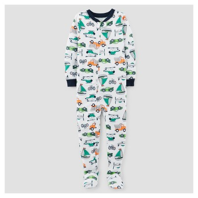 Baby Boys' One Piece Snug Fit Cotton Footed Pajama - Just One You™ Made by Carter's® White/Navy 9M