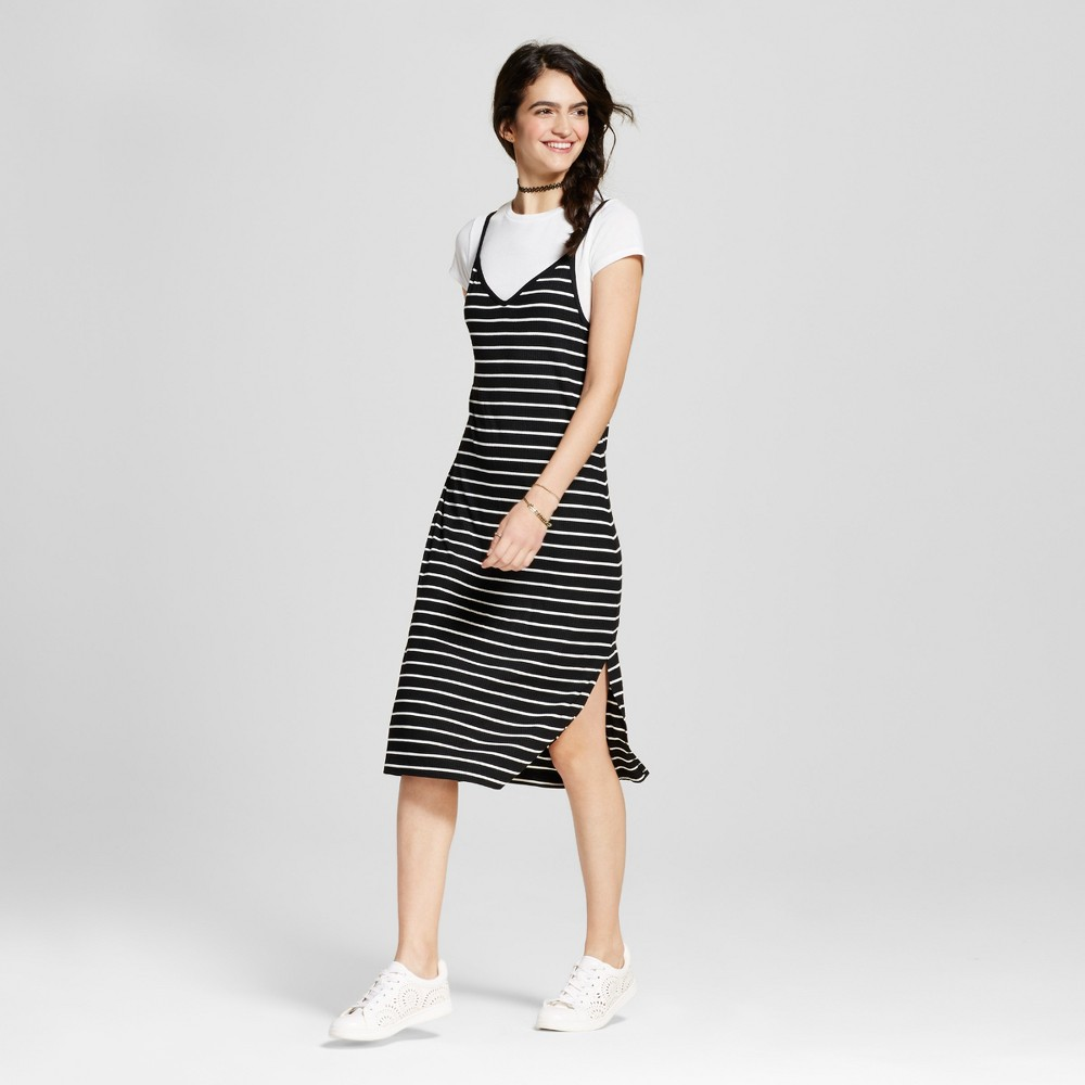 Womens Knit Slip Dress with T-Shirt - Mossimo Supply Co. Black and White Stripe S