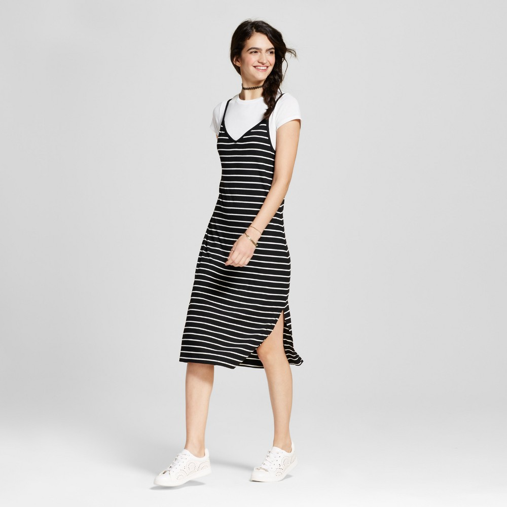 Womens Knit Slip Dress with T-Shirt - Mossimo Supply Co. Black and White Stripe L