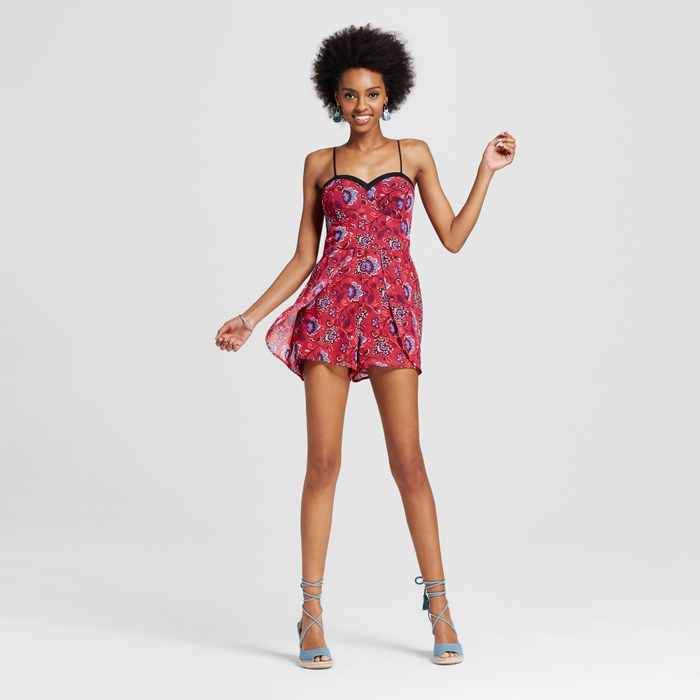 Womens Romper with Wrap Skirt - Xhilaration (Juniors) Berry M, Pink