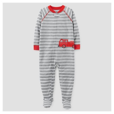 Baby Boys' One Piece Jersey Footed Pajama - Just One You™ Made by Carter's® Gray/Red 9M