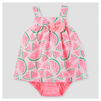 Baby Girls' One Piece Watermelon Bow Sunsuit - Just One You™ Made by Carter's® Pink 12M
