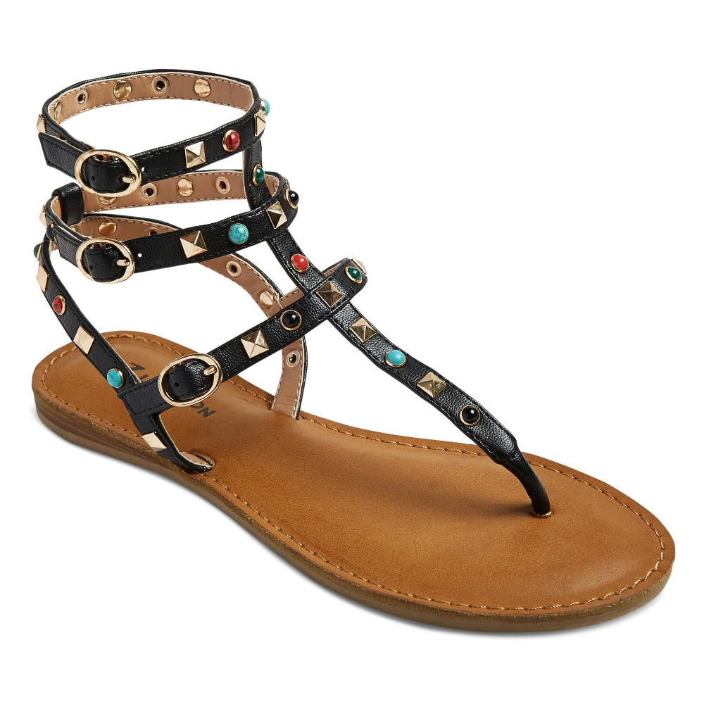 Womens Z-London Multiple Studded Gladiator Sandals - Black 7.5