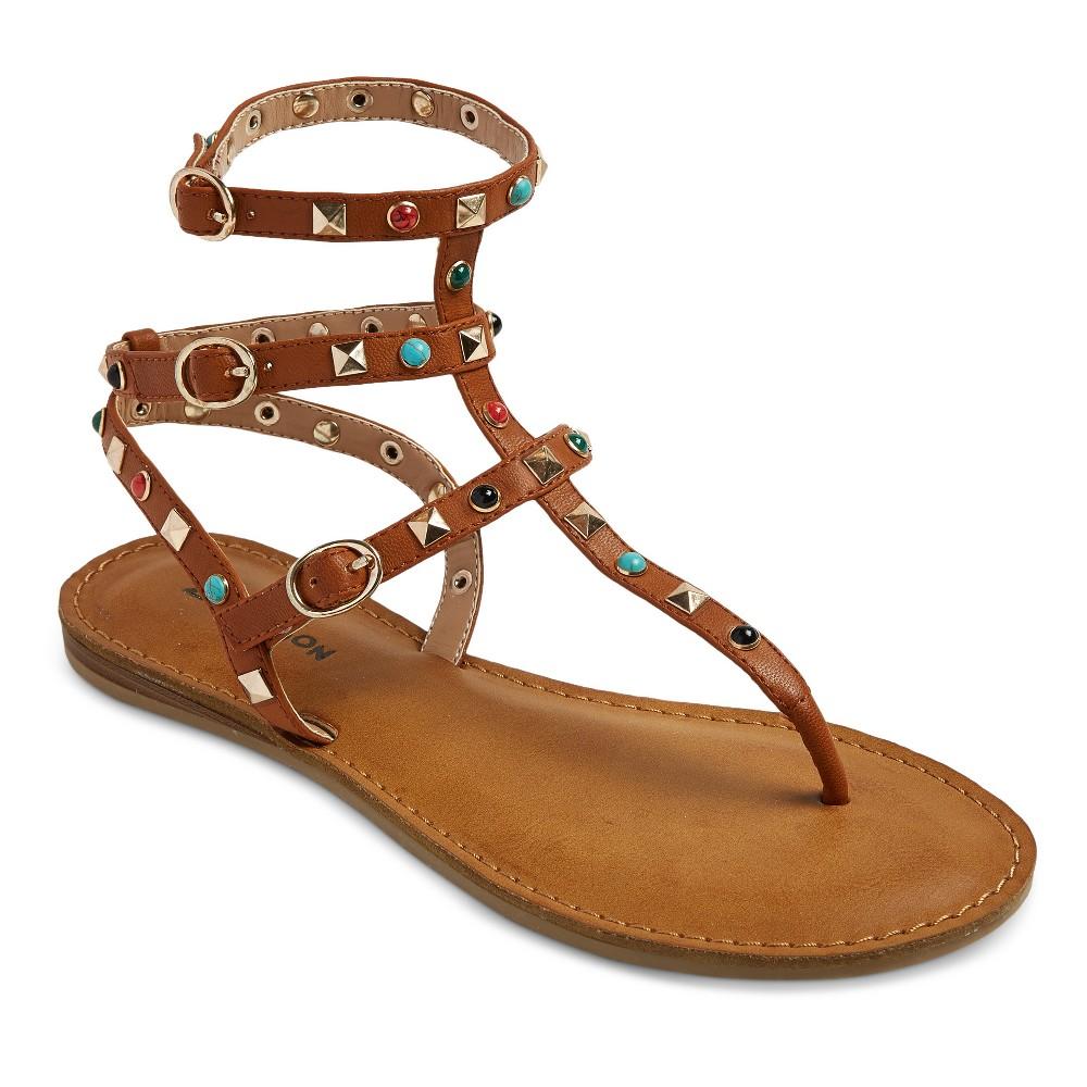 Womens Z-London Multiple Studded Gladiator Sandals - Tan 6.5
