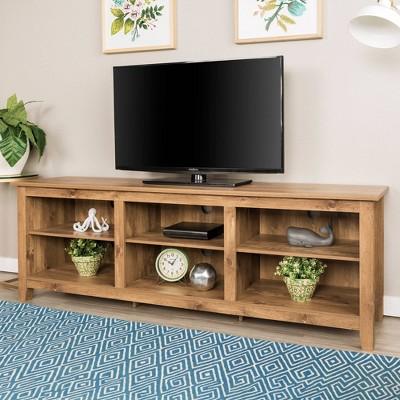70  Wood Media TV Stand Storage Console - Barnwood - Saracina Home