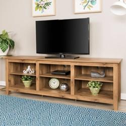 "70"" Wood Media TV Stand Storage Console - Barnwood - Saracina Home"