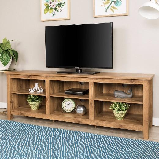 70 Wood Media Tv Stand Storage Console Barnwood Saracina Home