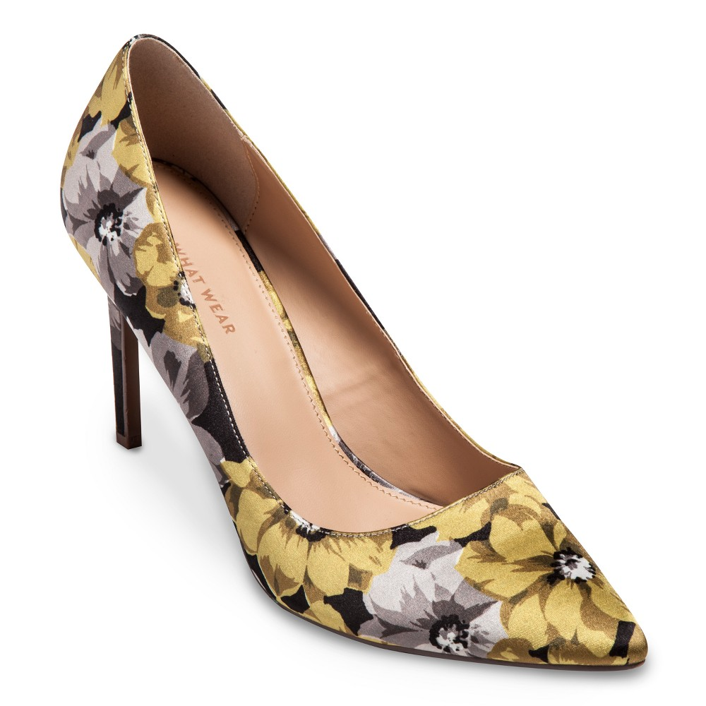 Womens Ally Printed Satin Pumps Who What Wear - Yellow 8.5