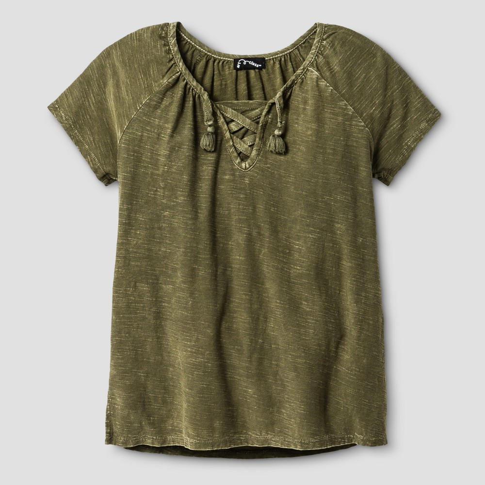 Girls Short Sleeve Lace-Up T-Shirt - Art Class Olive (Green) S, Size: S (6-6X)